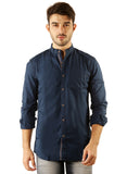 SHADE-45 Chinese collar Navy Casual Cotton Slimfit Shirt for Men