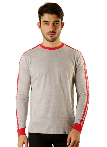 UD Sports Casual Cotton Men's T-Shirt - Grey and Red