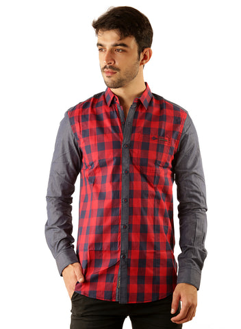 SHADE-45 Casual Cotton Red checked Slimfit Shirt for Men