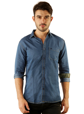 GoButtonsKart Casual Denim Plain Blue Slimfit Shirt for Men
