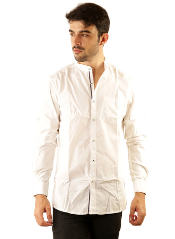 SHADE-45 Chinese collar White Casual Cotton Slimfit Shirt for Men