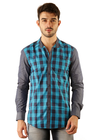 SHADE-45 Casual Cotton Sky Blue checked Slimfit Shirt for Men