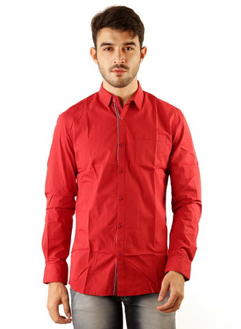 SHADE-45 Casual Plain Red Cotton Slimfit Shirt for Men