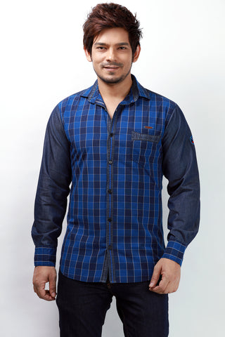 Rapphael Blue color Denim Slimfit  Shirt for men