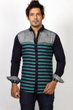 Rapphael Green Striped Men's Casual Slimfit Shirt
