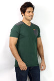 UD Sports Men's V-Neck Half Sleeve Green T-Shirt