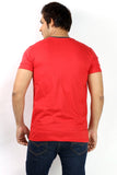 UD Sports Men's V-Neck Half Sleeve Red T-Shirt