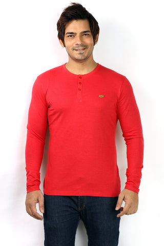 UD Sports Henley Neck Red Full Sleeve T-Shirt for Men