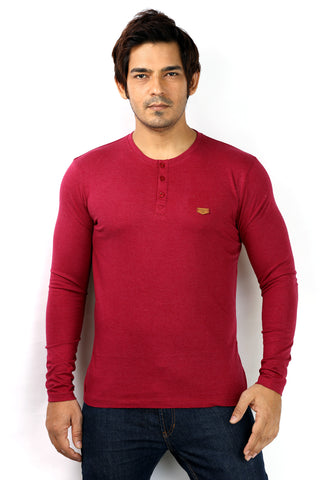 UD Sports Henley Neck Dark Pink Full Sleeve T-Shirt for Men