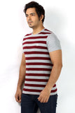 UD Sports Casual Red Striped Half Sleeve T-Shirt for Men