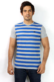 UD Sports Casual Blue Striped Half Sleeve T-Shirt for Men