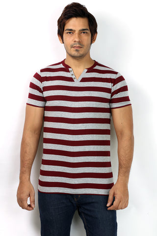 UD Sports Casual V-Neck Red Striped Half Sleeve T-Shirt for Men