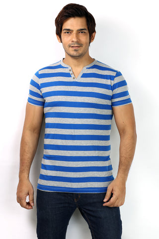 UD Sports Casual V-Neck Blue Striped Half Sleeve T-Shirt for Men