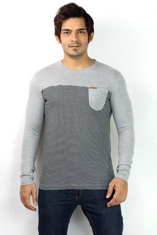 UD Sports Casual Round Neck Black Striped Full Sleeve T-Shirt for Men