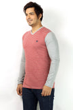 UD Sports Casual V Neck Red Striped Full Sleeve T-Shirt for Men