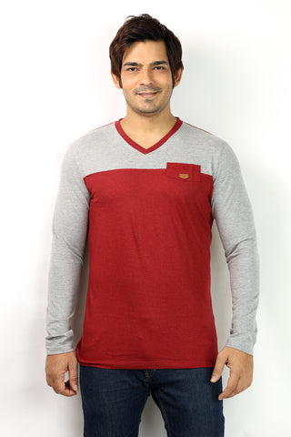 UD Sports V-Neck Red Full Sleeve T-Shirt for Men