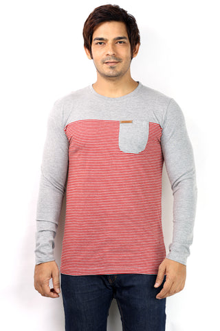 UD Sports Casual Round Neck Red Striped Full Sleeve T-Shirt for Men