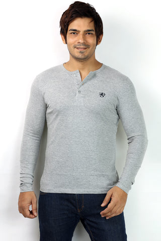 UD Sports Originals Henley Neck Men's Full Sleeve Grey T-Shirt