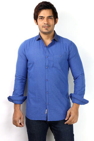 SHADE-45 Cotton Blue Casual Shirt for Men