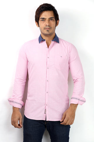 SHADE-45 Cotton Pink Casual Shirt for Men