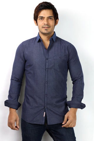 SHADE-45 Cotton Navy Blue Casual Shirt for Men