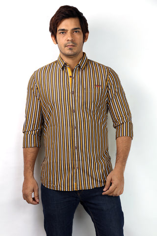 SHADE-45 Men's Brown with White & Yellow Striped Cotton Casual Shirt