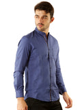 SHADE-45 Chinese collar Blue Casual Cotton Slimfit Shirt for Men
