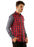 GoButtonsKart   Casual Cotton Red checked Slimfit Shirt for Men