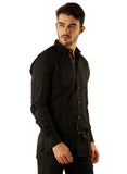 SHADE-45 Casual Plain Black Cotton Slimfit Shirt for Men