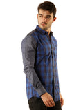 SHADE-45 Casual  Cotton Blue checked Slimfit Shirt for men