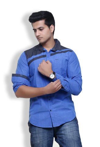 Rapphael Casual  Men's Stylish Blue Cotton Slimfit Shirt