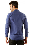 SHADE-45 Casual Plain Blue Cotton  Slimfit Shirt for Men