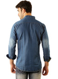 GoButtonsKart Casual Denim Blue Slimfit Shirt for Men