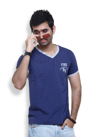 Furious Active Navy Melange V-Neck T-Shirt