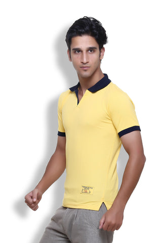 Furious Active Plain Yellow Polo T-Shirt