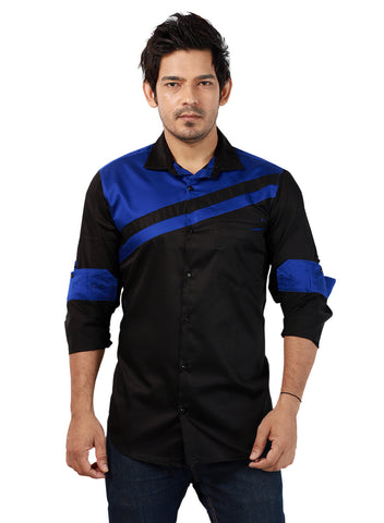 Rapphael Men's Casual Black & Blue Solid Slimfit Shirt