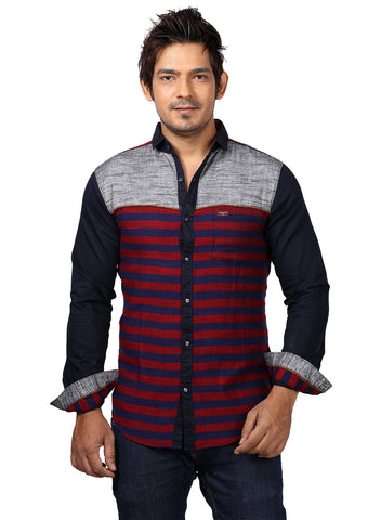 Rapphael Casual Red & Grey Striped Slimfit  Shirt for men