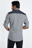 Rapphael Men's Black checked Casual Slimfit  Shirt
