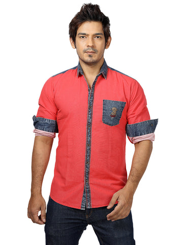 Rapphael Casual Denim Red Slimfit Shirt for men