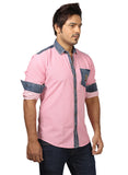 Rapphael Casual Denim Pink Slimfit Shirt for men