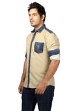 Rapphael Casual Denim Beige Slimfit Shirt for men