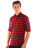 SHADE-45  Checkered   Cotton  Red and Blue Slimfit Shirt for Men