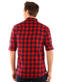 GoButtonsKart Checkered Cotton Red and Blue Slimfit Shirt for Men