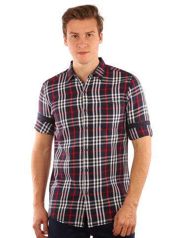 SHADE-45  Checkered Cotton Red Shirt for Men