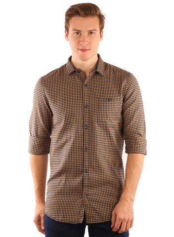 SHADE-45  Checkered Cotton Slimfit Yellow Shirt for Men