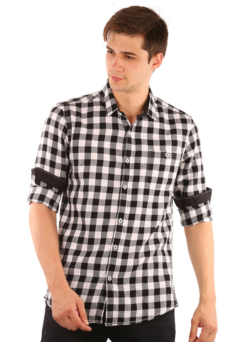 SHADE-45  Checkered   Cotton  Black and Blue Slimfit Shirt for Men