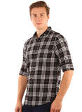 SHADE-45  Checkered Cotton Black Slimfit Shirt for Men