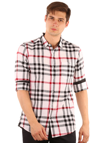 SHADE-45  Checkered  Cotton  White Shirt for Men