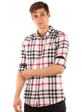 GoButtonsKart Checkered  Cotton  White Shirt for Men