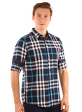 SHADE-45  Checkered  Cotton Blue Shirt for Men